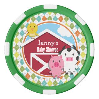 Farm Animal Baby Shower on Colorful Argyle Poker Chips