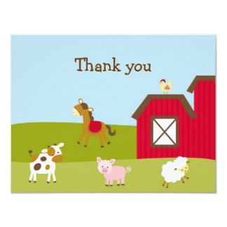 Farm Animal Barnyard Thank You Note Cards 11 Cm X 14 Cm Invitation Card