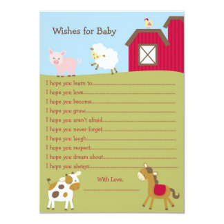 Farm Animal Barnyard Wishes for Baby Card 13 Cm X 18 Cm Invitation Card