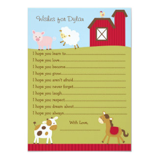 "Farm Animal Barnyard Wishes for Baby Cards 4.5"" X 6.25"" Invitation Card"
