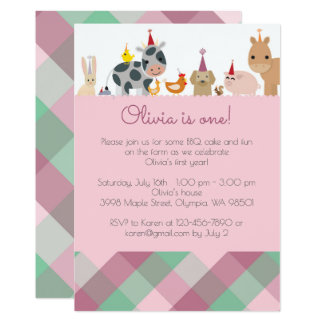 Farm Animal Birthday Party Invitation - Girl Color