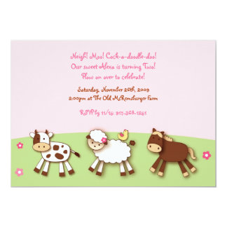 Farm Animals Barnyard Photo Birthday Invitations