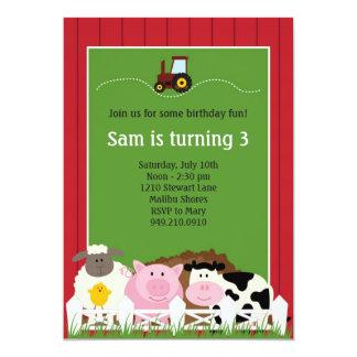 "Farm Animals Birthday Party Invitation 5"" X 7"" Invitation Card"