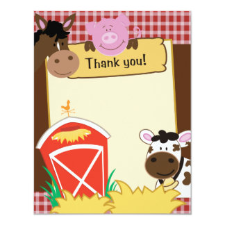 Farm Babies Writable Flat Thank you Card 11 Cm X 14 Cm Invitation Card