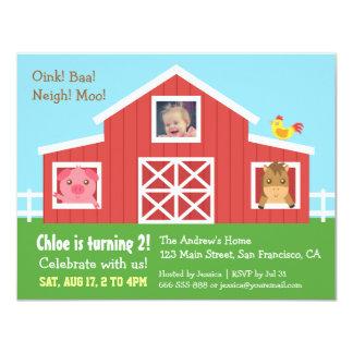 Farm Barnyard Animal Photo Birthday Party 11 Cm X 14 Cm Invitation Card