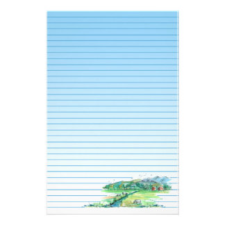 Farm Country Cows Red Barn Landscape Blue Lined Stationery