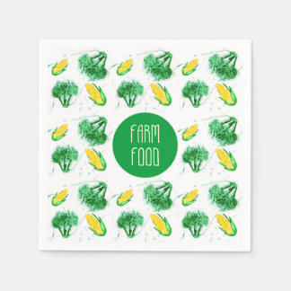 """Farm food"" label with corn and broccoli Disposable Napkin"