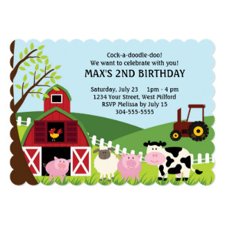 Farm Kids Birthday 13 Cm X 18 Cm Invitation Card