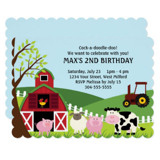 Farm Kids Birthday Card