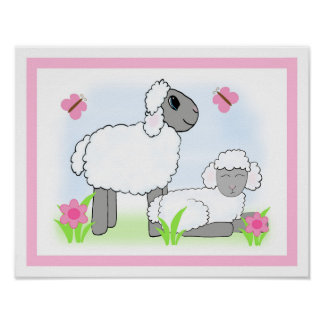 Farm Sheep Nursery Baby Girl Pink Wall Art Print