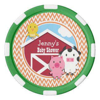 Farm Theme Baby Shower; Orange and White Chevron Poker Chips