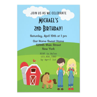 Farm Theme Birthday Party Invitation