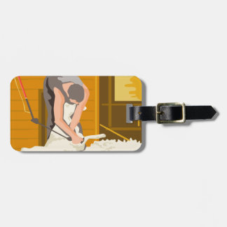 Farmer Farmworker Shearing Sheep WPA Bag Tag