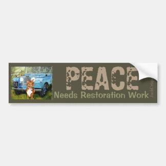 """FARMER'S FRIENDS"" PEACE Needs Restoration Work Bumper Sticker"
