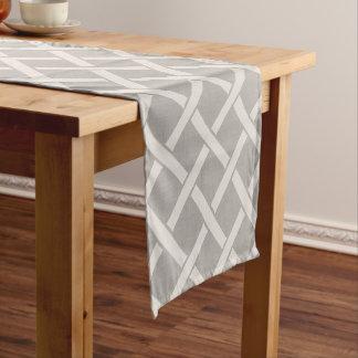 Farmhouse Gray Linen Lattice Table Runner
