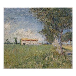 Farmhouse in a Wheatfield by Vincent Van Gogh Photo Print