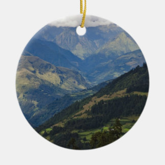 Farmlands and village in the Himalayas Christmas Ornament