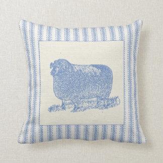 Farmyard Sheep with Ticking Throw Pillow