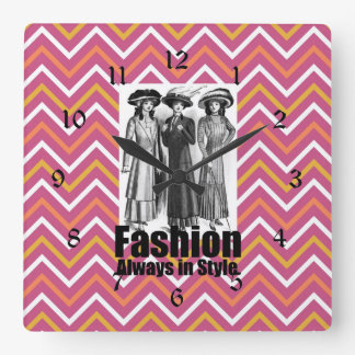 Fashion Always in Style 1900s Women on Chevron Square Wall Clock