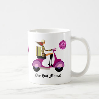 Fashion Coffee Mug Scooter Woman Pink Leopard
