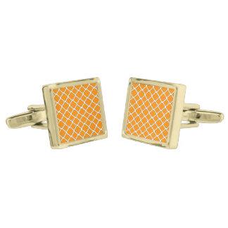 Fashion Dark Orange Quatrefoil Maroccan Pattern Gold Finish Cuff Links