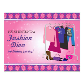 Fashion Diva Birthday Party 11 Cm X 14 Cm Invitation Card