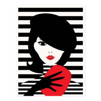 Fashion french stylish fashion illustration postcard