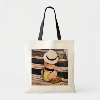 Fashion girl painting with hat and moccs tote bag