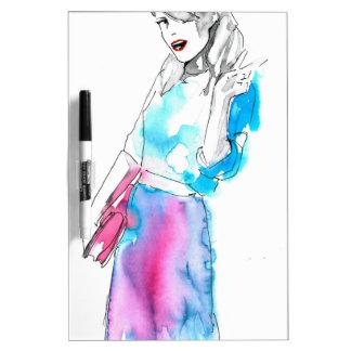 Fashion girl sketch design dry erase board