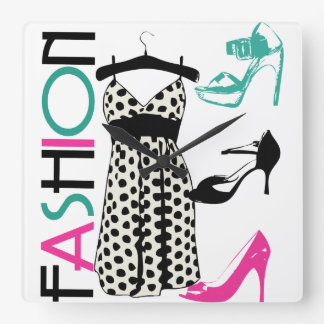 Fashion in Black and White Dots Square Wall Clock