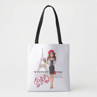 Fashion Paris Girl Hand Painted Tote Bag