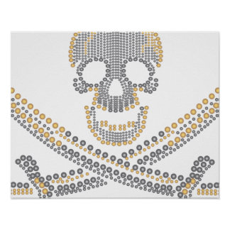 fashion pirate skull gold diamond and pearls poster