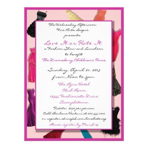 Fashion Show and Luncheon Custom Invitations