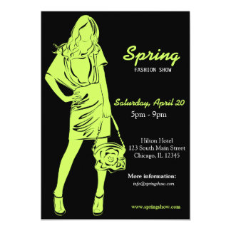 Fashion Show (Dark Olive Green) 13 Cm X 18 Cm Invitation Card