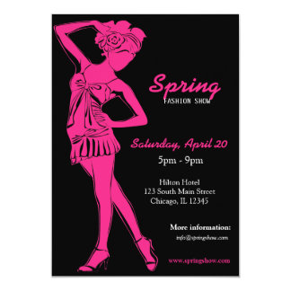 Fashion Show (Deep Pink) 13 Cm X 18 Cm Invitation Card