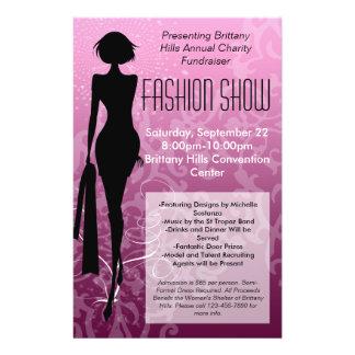 Fashion Show Flyer, Pink Silhouette Swirl 14 Cm X 21.5 Cm Flyer