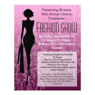 Fashion Show Flyer, Pink Silhouette Swirl 21.5 Cm X 28 Cm Flyer
