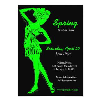 Fashion Show (Lime) 13 Cm X 18 Cm Invitation Card