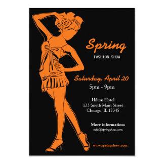 Fashion Show (Orange) 13 Cm X 18 Cm Invitation Card