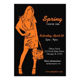 Fashion Show Orange Personalized Invitations