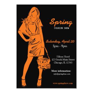 Fashion Show (Orange) 5x7 Paper Invitation Card