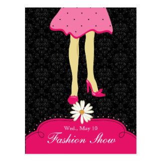 Fashion Show Postcard Invite Pretty Shoes Pink