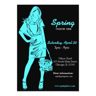 Fashion Show (Turquoise) 13 Cm X 18 Cm Invitation Card