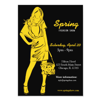 Fashion Show (Yellow) 13 Cm X 18 Cm Invitation Card