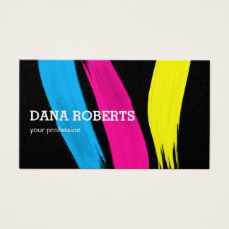 Fashion Stylist Designer color paint strokes Business Card