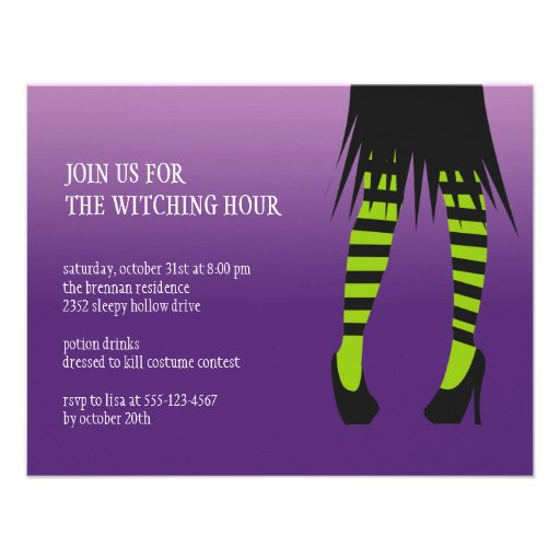Fashion witch costume stripe legs Halloween party Announcements