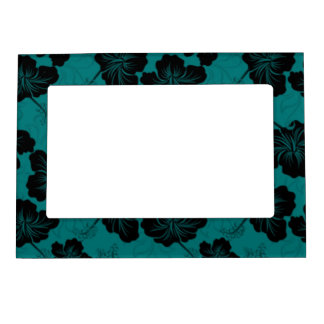 Fashionable Black Floral on Teal Background. Magnetic Picture Frame