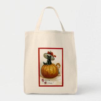 Fashionable Halloween Kitty Tote Bags