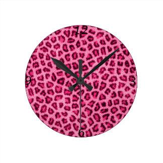 Fashionable leopard skin fluffy fur effect round clock
