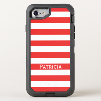 Fashionable Red And White Striped. It! OtterBox Defender iPhone 8/7 Case